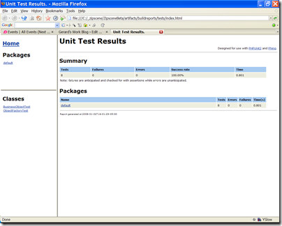 Unit test results